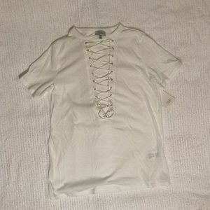 Tobi White Lace-Up T-Shirt